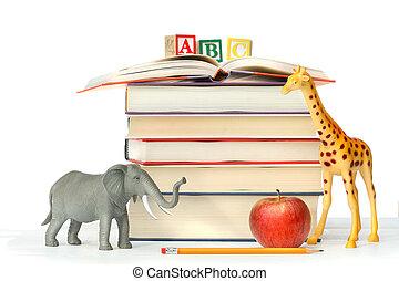 giocattolo, libri, animali, pila