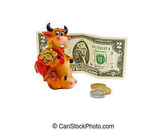 giocattolo, $, mucca, monete, banconote, fondo., 2, bianco