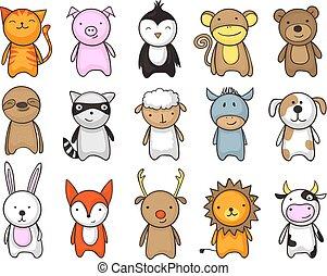 giocattolo, set, animali, cartone animato