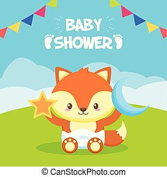 giocattolo, stella, volpe, luna, doccia, bambino, scheda