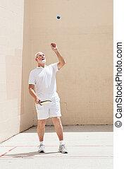 giochi, uomo, racquetball, anziano