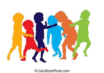 gioco, 3 bambini, silhouette