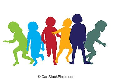 gioco, 5, bambini, silhouette