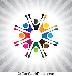 gioco, anche, divertimento, semplice, celebrazioni, persone, detenere, festa, festivo, vettore, bambini, graphic., animato, lattina, riunione, eccitato, buon umore, bambini, time-, illustrazione, persone, celebrare, rappresentare, questo
