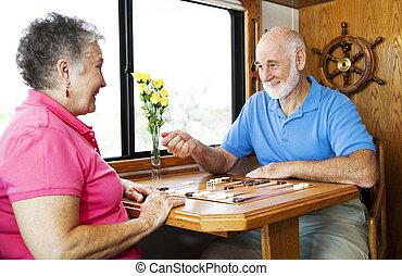 gioco, backgammon, seniors
