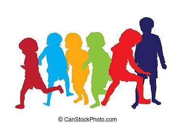 gioco, bambini, 2, silhouette
