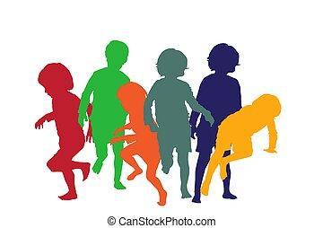 gioco, bambini, 4, silhouette