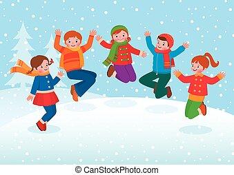 gioco, bambini, gruppo, inverno, fuori