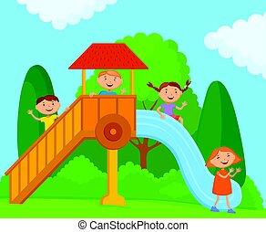 gioco, bambini, natura