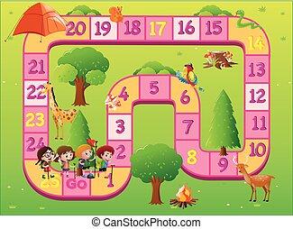 gioco, bambini, sagoma, zoo