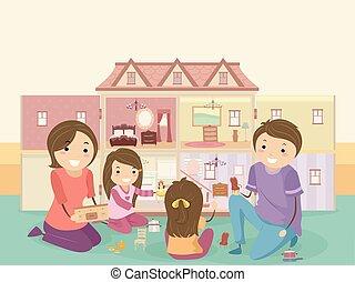 gioco, bambini, stickman, famiglia, bambola, casa, ragazza