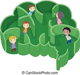 gioco, bambini, stickman, labirinto, cervello, forma