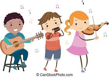 gioco, bambini, stickman, musica paese, strumenti