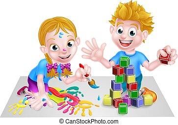 gioco, bambini, vernice, blocchi, costruzione