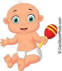 gioco, bambino, carino, cartone animato, maca