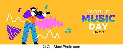 gioco, bandiera, divertente, uomo, musicale, musica, giorno, violino