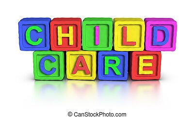 gioco, :, blocchi, cura bambino