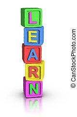 gioco, :, blocchi, imparare