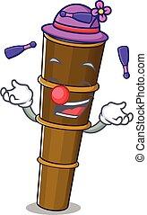 gioco, cartone animato, fresco, manipolazione, telescopio, stile, rotolo, mascotte