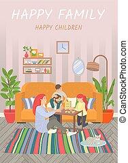 gioco, casa, bambini, famiglia, felice, genitori