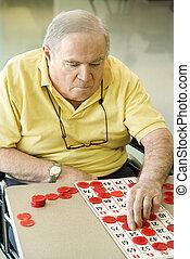 gioco, caucasico, maturo, bingo.