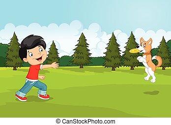 gioco, ciao, ragazzo, frisbee, cartone animato