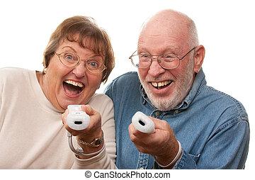 gioco, coppia, video, anziano, gioco