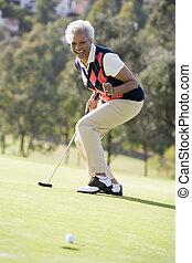 gioco, donna, golf, gioco