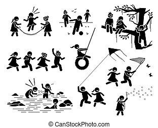 gioco, figure, esterno, icons., bambini, sano, modo vivere attivo, bastone