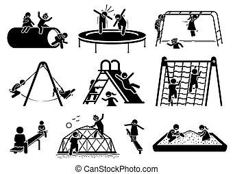 gioco, figure, icons., bambini, campo di gioco, attivo, bastone