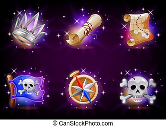 gioco, fondo., video, grafico, illustrazione, collezione, set, cartone animato, domanda, interfaccia, utente, scuro, stile, vettore, mobile, icone