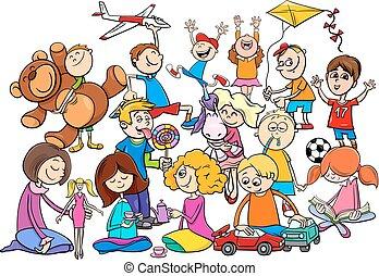 gioco, gruppo, cartone animato, giocattoli, bambini