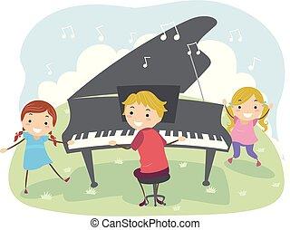 gioco, illustrazione, bambini, fuori, pianoforte