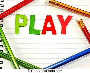 gioco, lettera, colorito, legno, alfabeto, carta quaderno, fondo