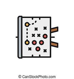 gioco, linea, piano, icon., piano, colorare, football, appartamento, tattica