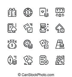 gioco, linea, set, icone