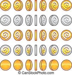 gioco, monete, set, rotazione