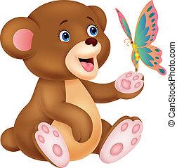 gioco, orso, bambino, carino, cartone animato