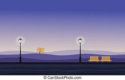 gioco, paesaggio, collina, fondo, notte