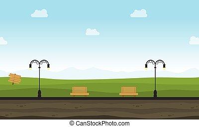 gioco, paesaggio, giardino, fondo