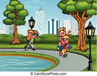 gioco, parco, cartone animato, bambini