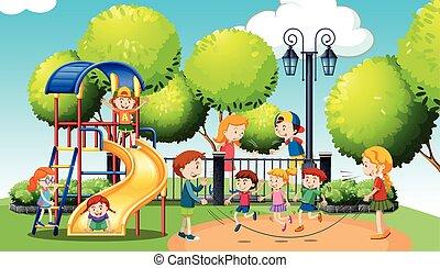 gioco, parco, pubblico, bambini