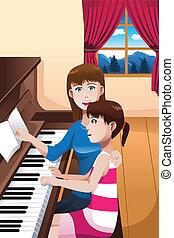 gioco, pianoforte, ragazza, cultura