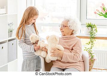 gioco, poco, nonna, ragazza