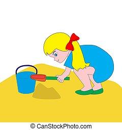 gioco, ragazza, sandbox.