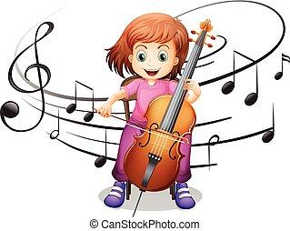 gioco, ragazza solo, violoncello