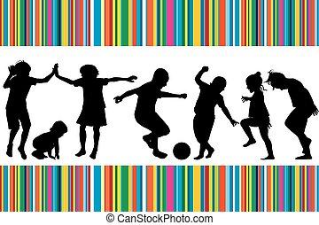 gioco scheda, silhouette, zebrato, colorato, bambini