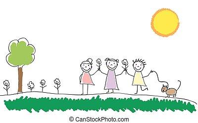 gioco, schizzo, illustrazione, insieme, scribble., vettore, fuori, gruppo, scarabocchiare, bambini, mano, disegnato, park., kids.