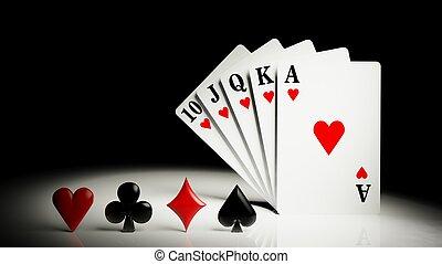 gioco, scorrere, poker, cartelle, reale, mano, diritto