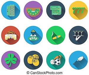 gioco, set, icone